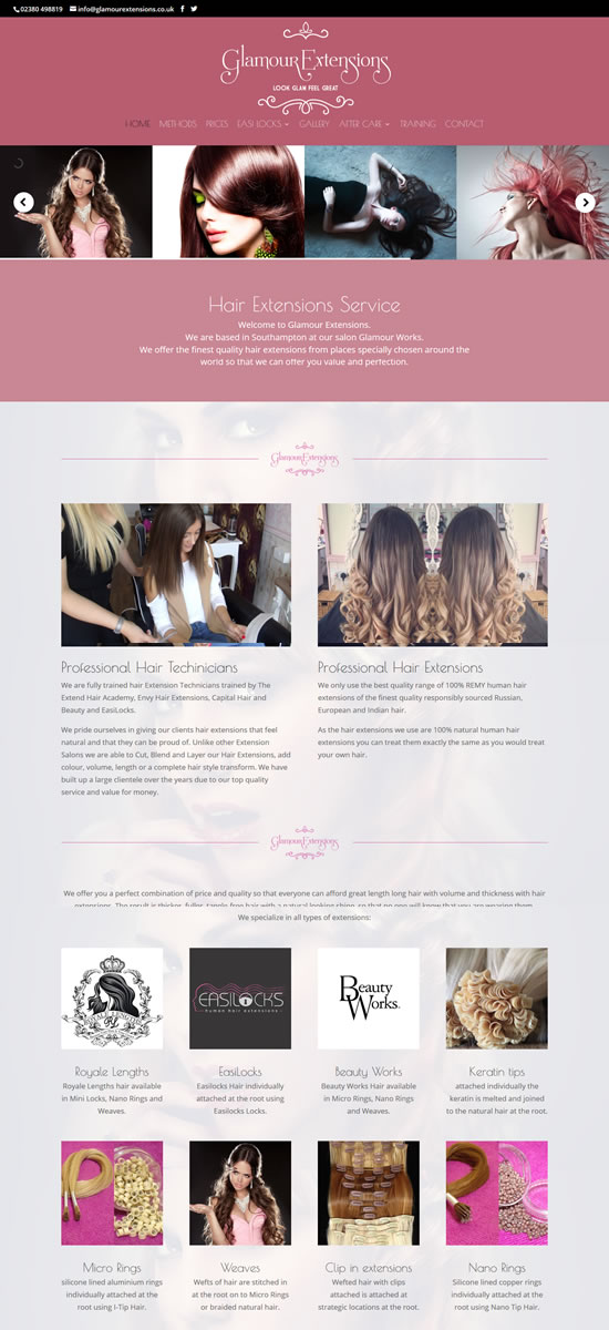 Glamour Hair Extensions Website