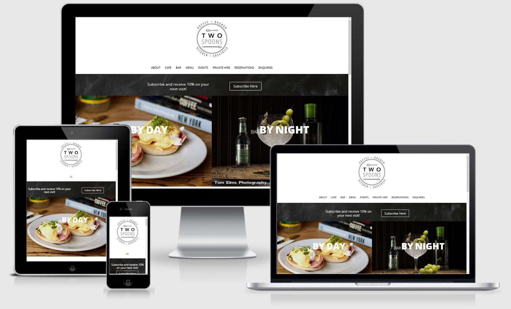 2 Spoons Cafe Bar Website