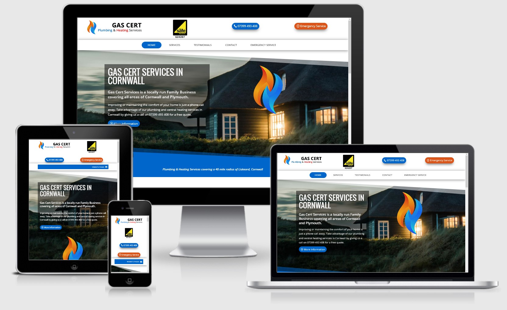 Gas Cert Services Cornwall Website